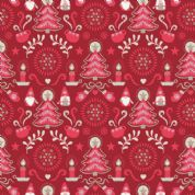 Lewis & Irene - Hygge Christmas - 5982 - Elves & Winter Motifs on Red - C28.3 - Cotton Fabric